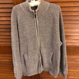 Men's LL Bean Ragg Cotton Sweater full zip Grey XL